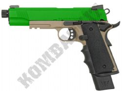 R32-3 Sandstorm Airsoft Pistol 1911 MEU Railed Gas Blowback BB Gun Tan & 2 Tone Metal